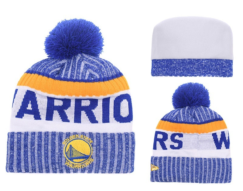 Warriors Royal White Banner Block Cuffed Knit Hat With Pom YD