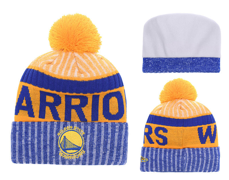 Warriors Royal Yellow Banner Block Cuffed Knit Hat With Pom YD