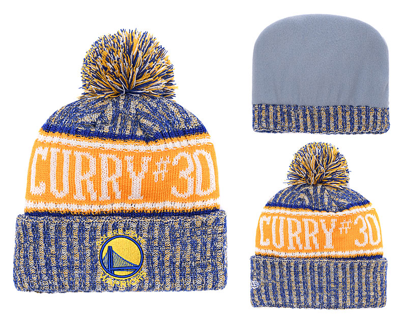 Warriors Team Logo Royal With Pom Knit Hats YD