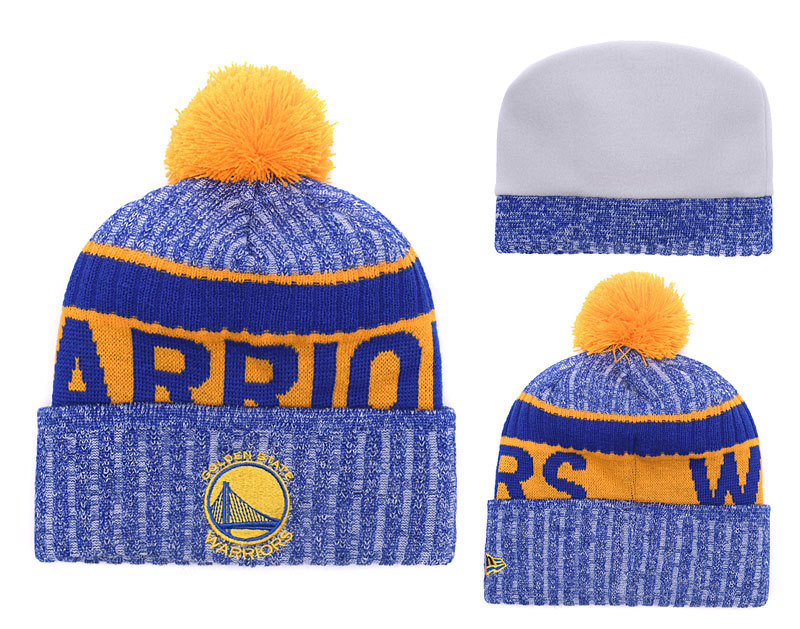 Warriors Team Logo Royal Yellow With Pom Knit Hat YD