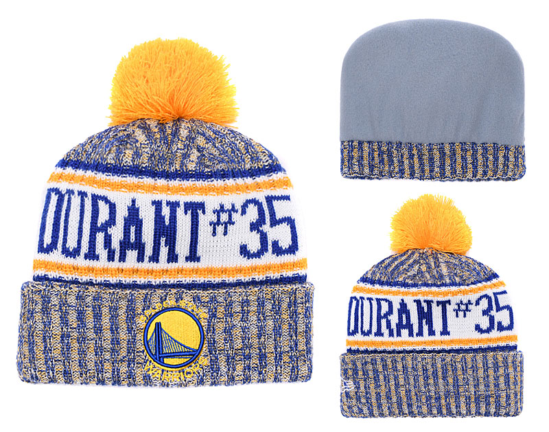 Warriors Team Logo Yellow Royal Pom Knit Hat YD