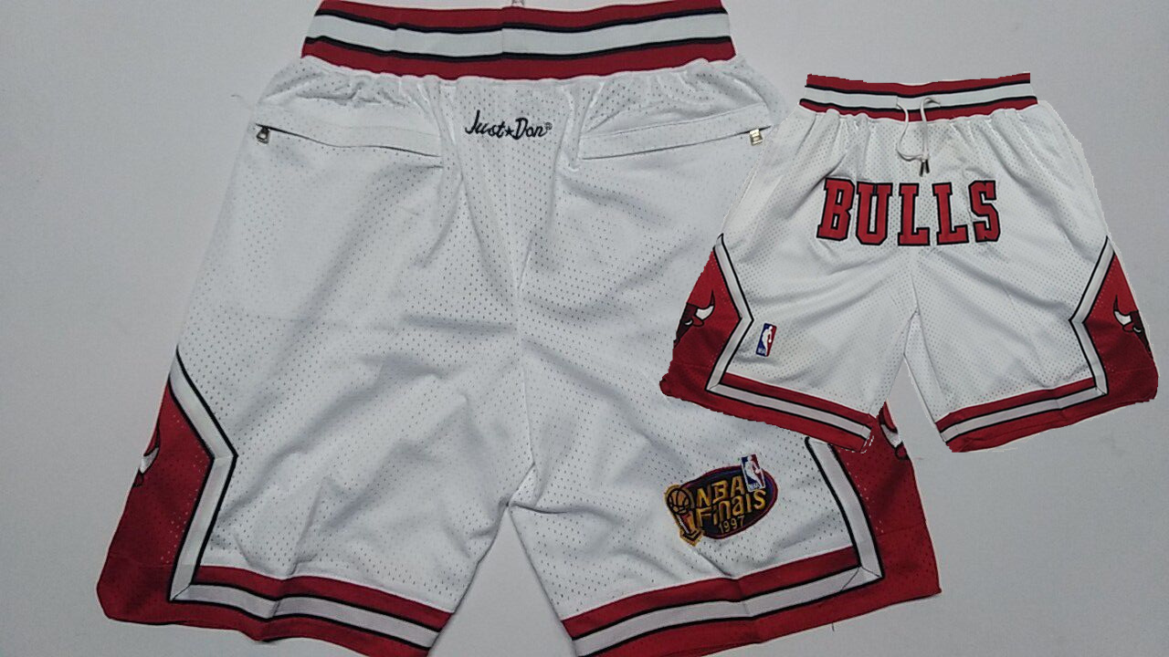 Bulls White 1997 NBA Finais Patch Mesh Shorts