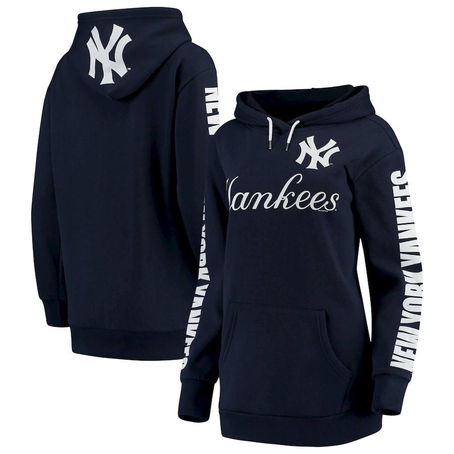 New York Yankees G III 4Her by Carl Banks Women's Extra Innings Pullover Hoodie Navy