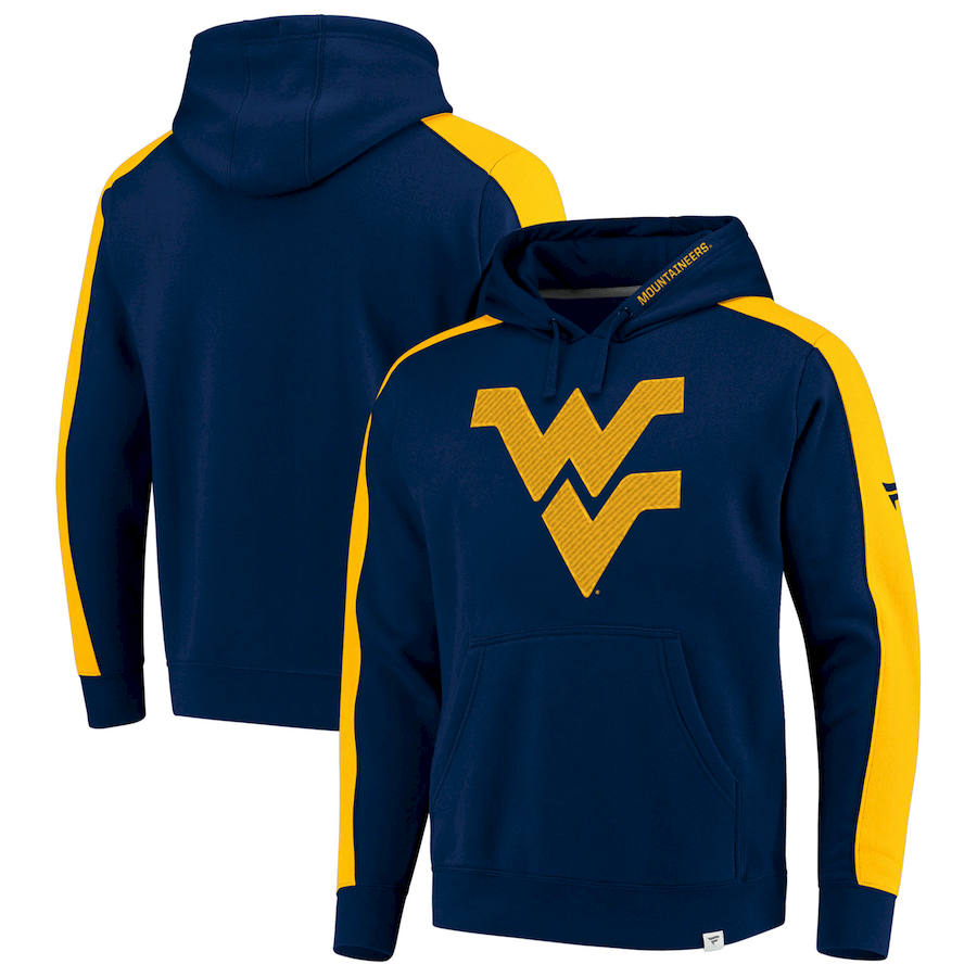 West Virginia Mountaineers Fanatics Branded Iconic Colorblocked Fleece Pullover Hoodie Navy