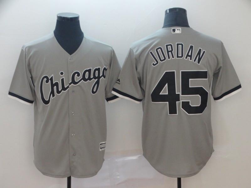 White Sox 45 Michael Jordan Gray Cool Base Jersey