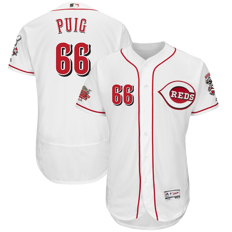 Reds 66 Yasiel Puig White 150th Anniversary FlexBase Jersey