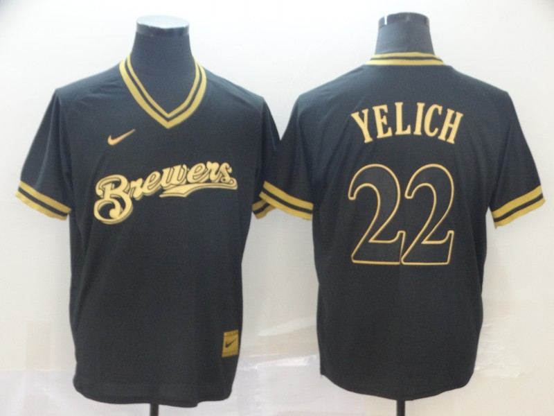 Brewers 22 Christian Yelich Black Gold Nike Cooperstown Collection Legend V Neck Jersey