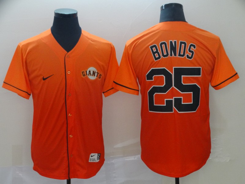 Giants 25 Barry Bonds Orange Drift Fashion Jersey