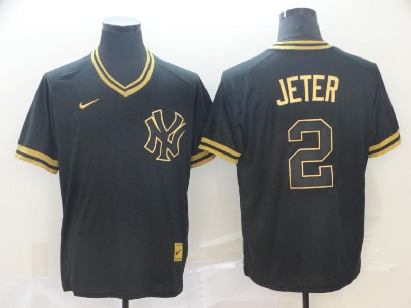 Yankees 2 Derek Jeter Black Gold Nike Cooperstown Collection Legend V Neck Jersey