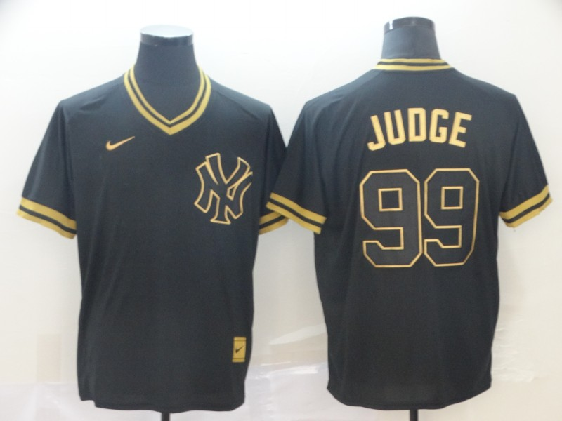 Yankees 99 Aaron Judge Black Gold Nike Cooperstown Collection Legend V Neck Jersey