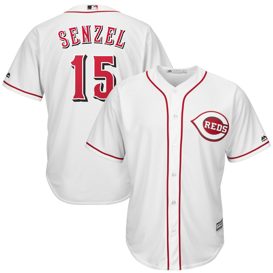 Reds 15 Nick Senzel White Cool Base Jersey