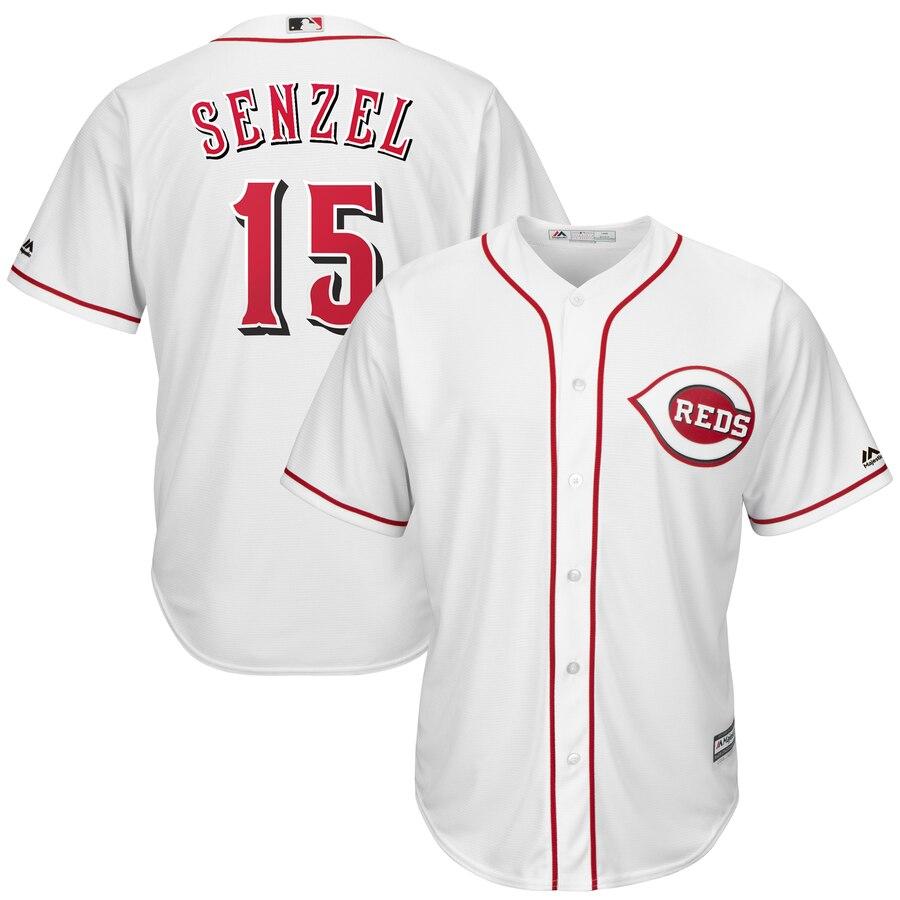Reds 15 Nick Senzel White Cool Base Jersey