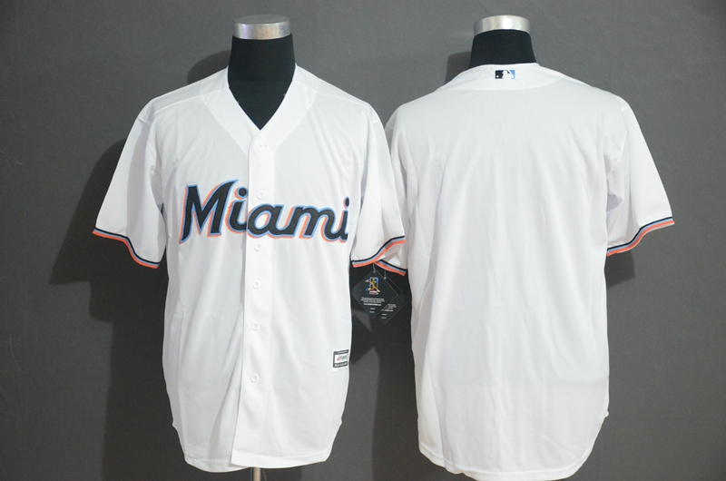 Marlins Blank White Cool Base Jersey