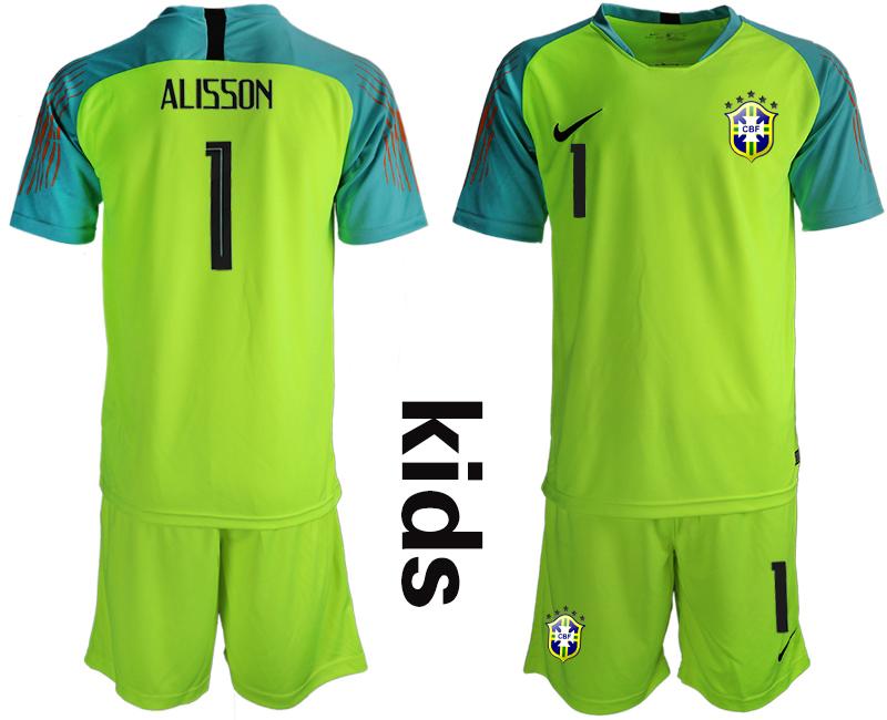 2019-20 Brazil Fluorescent Green 1 ALISSON Youth Goalkeeper Soccer Jersey