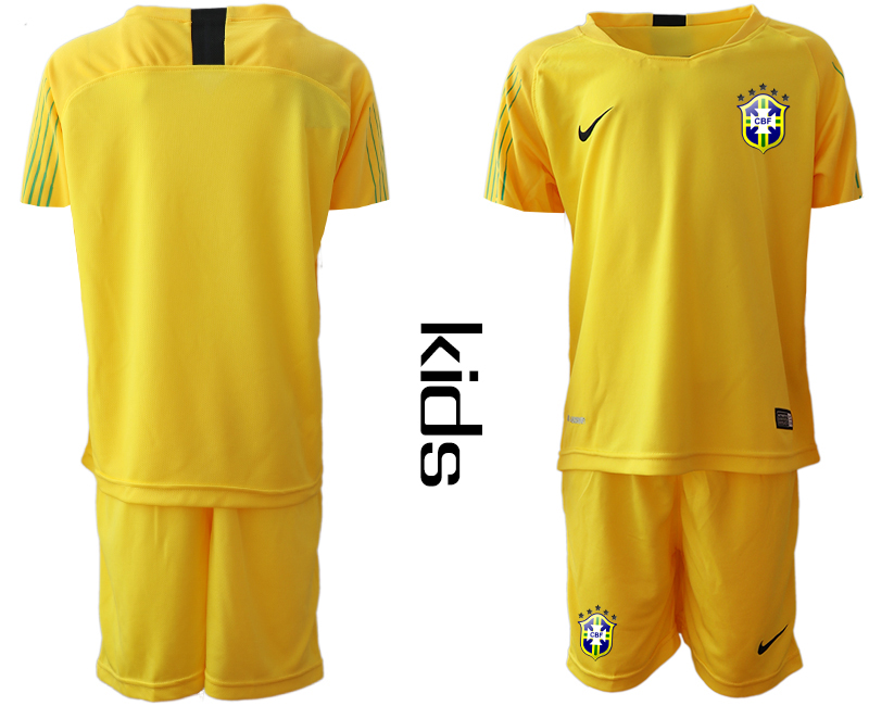 2019-20 Brazil Yellow Youth Goalkeeper Soccer Jersey