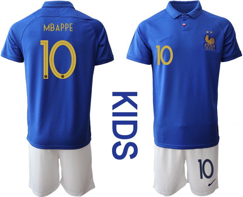 2019-20 France 10 MBAPPE Youth Centenary Edition Soccer Jersey