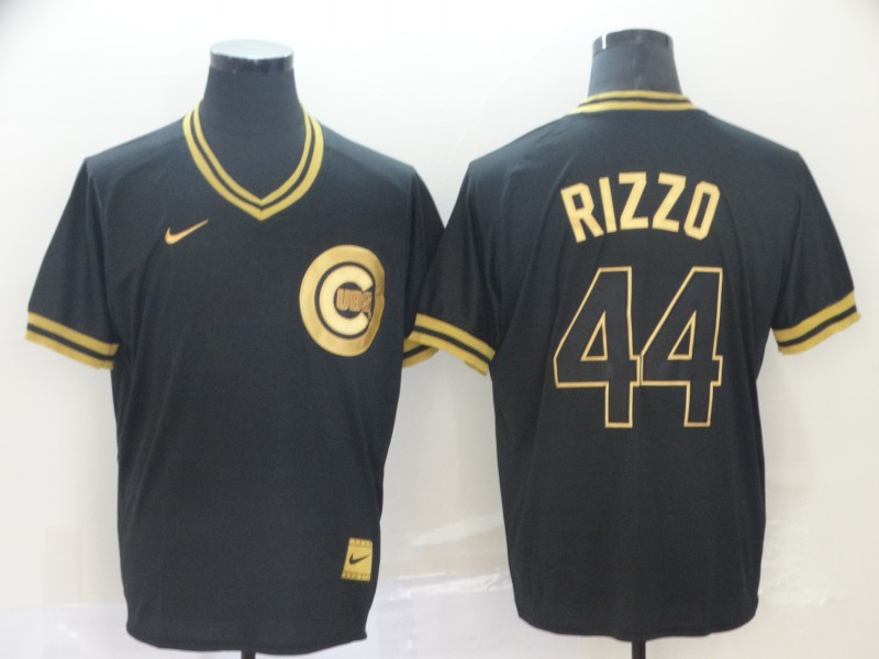 Cubs 44 Anthony Rizzo Black Gold Nike Cooperstown Collection Legend V Neck Jersey