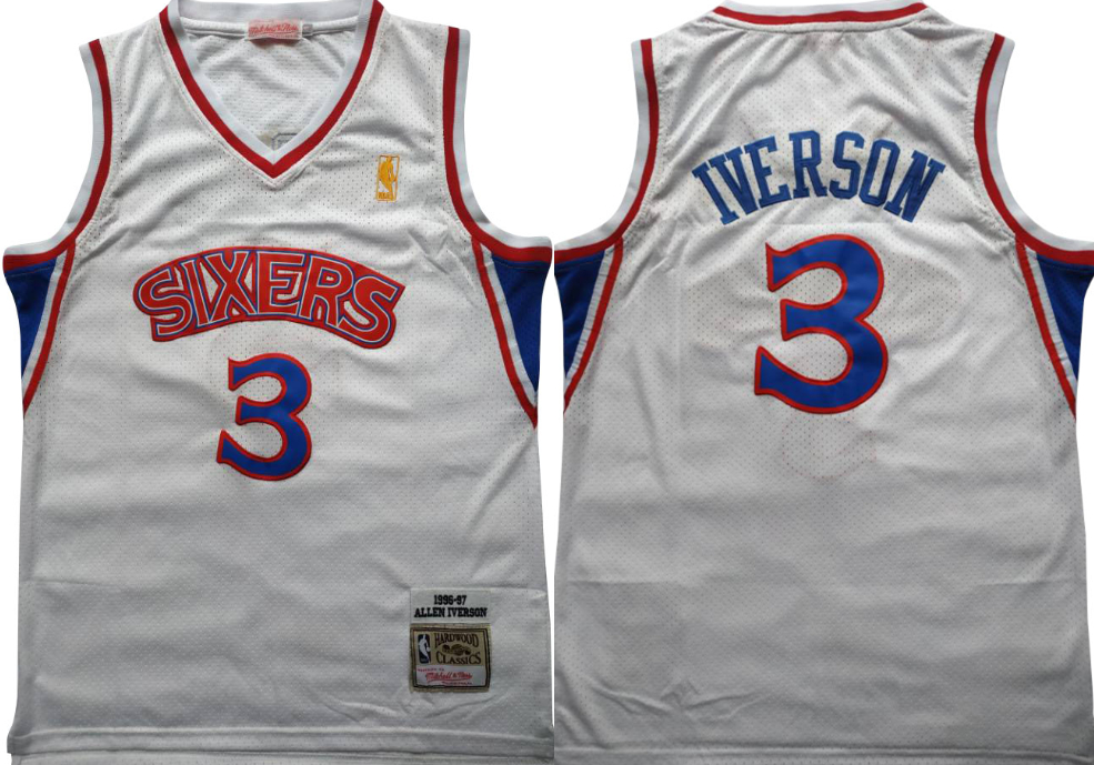 76ers 3 Allen Iverson White 1996-97 Hardwood Classics Mesh Jersey