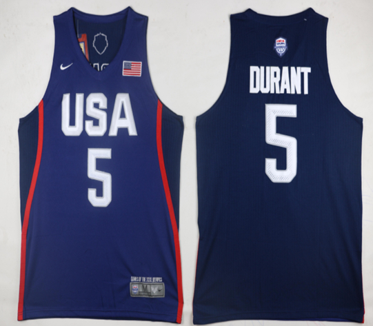 USA 5 Kevin Durant Navy 2016 Olympic Basketball Team Jersey