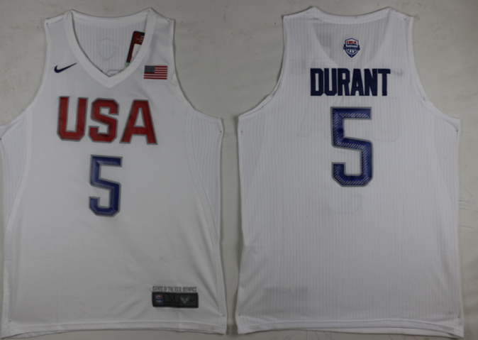 USA 5 Kevin Durant White 2016 Olympic Basketball Team Jersey