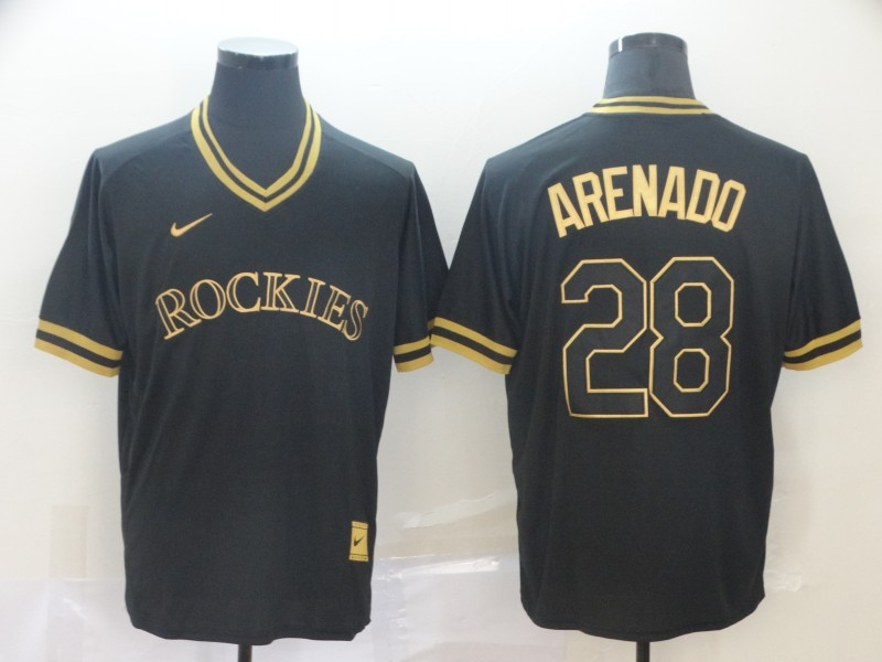 Rockies 28 Nolan Arenado Black Gold Nike Cooperstown Collection Legend V Neck Jersey
