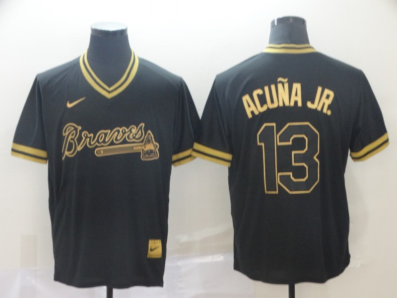 Braves 13 Ronald Acuna Jr Black Gold Nike Cooperstown Collection Legend V Neck Jersey