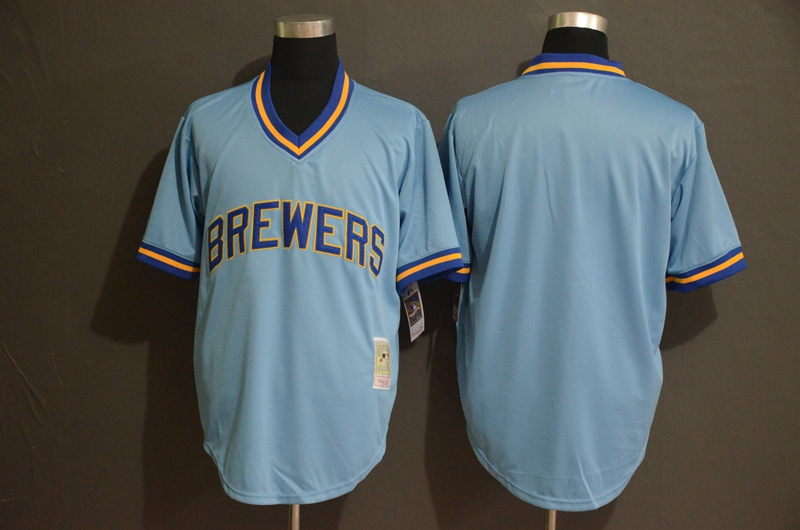 Brewers Blank Blue Cooperstown Collection Jersey