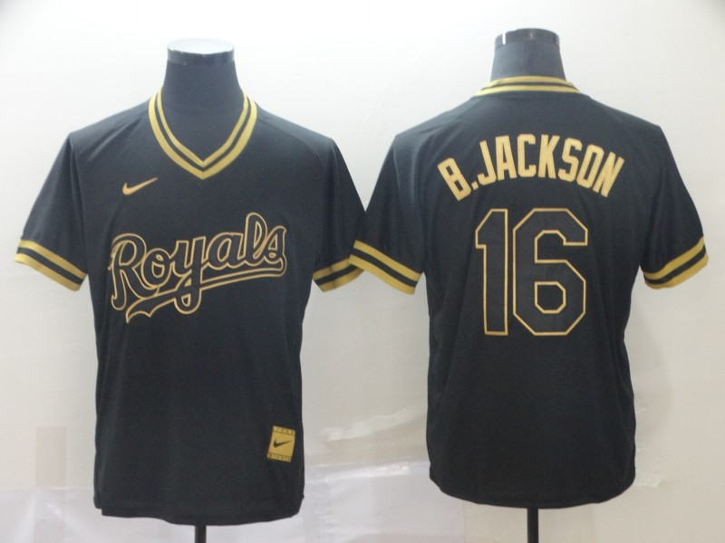 Royals 16 Bo Jackson Black Gold Nike Cooperstown Collection Legend V Neck Jersey