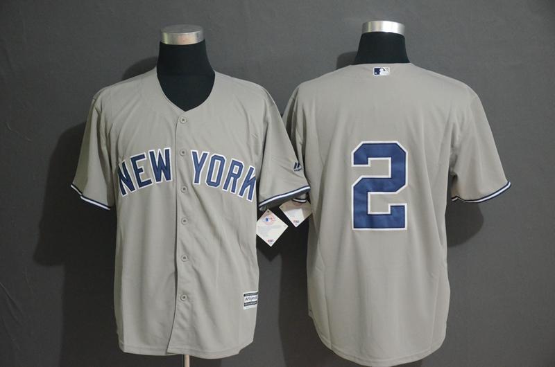 Yankees 2 Derek Jeter Gray Cool Base Jersey