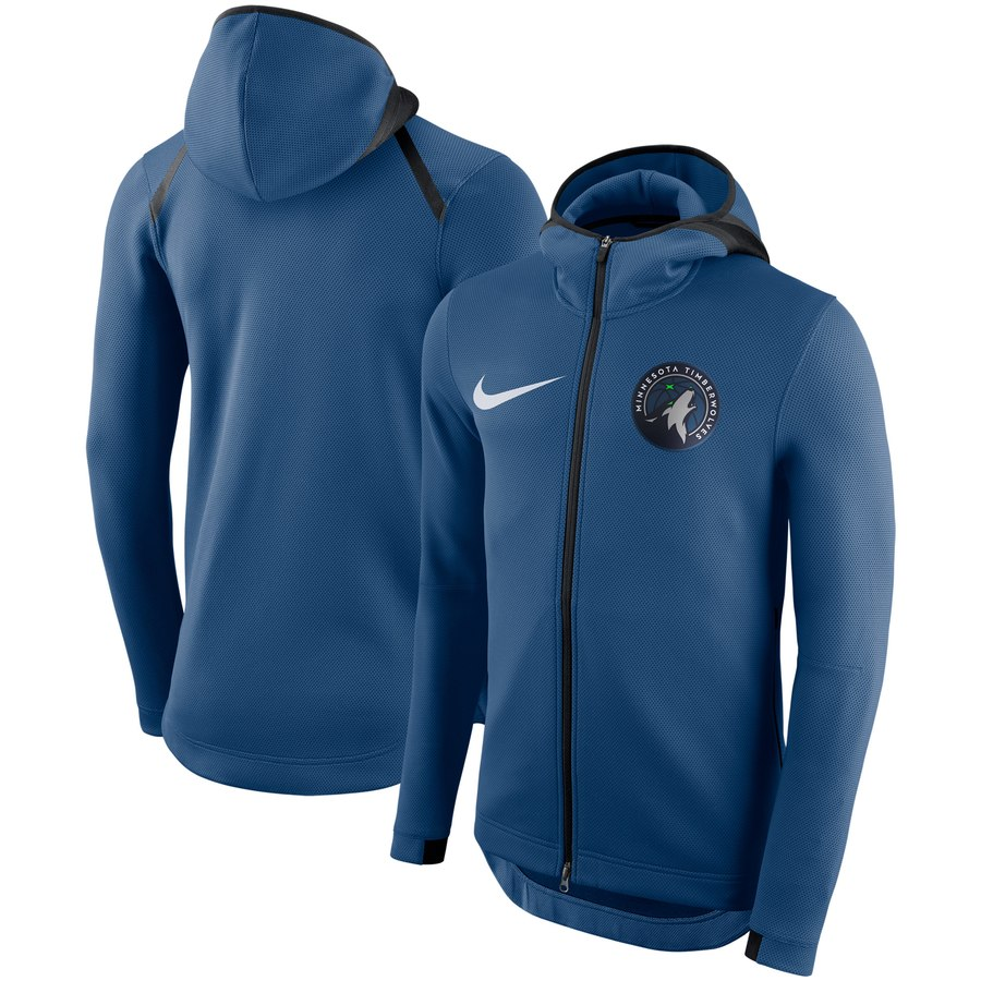 Minnesota Timberwolves Nike Showtime Therma Flex Performance Full Zip Hoodie Blue