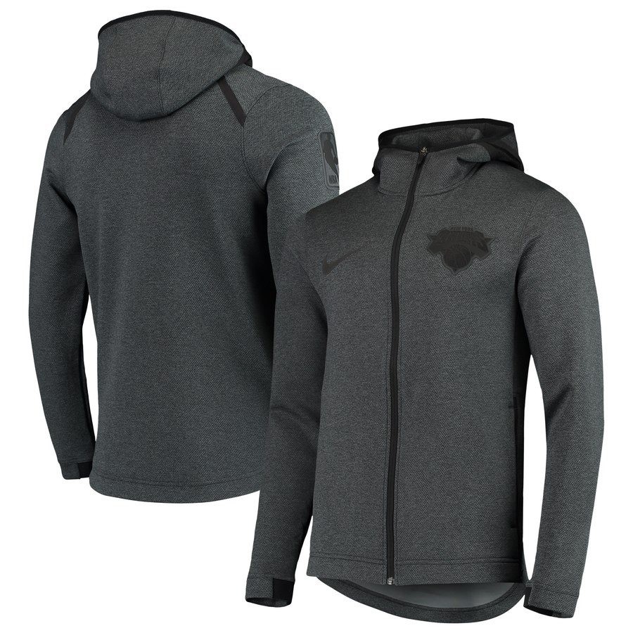 New York Knicks Nike Showtime Tonal Therma Flex Performance Full Zip Hoodie Black