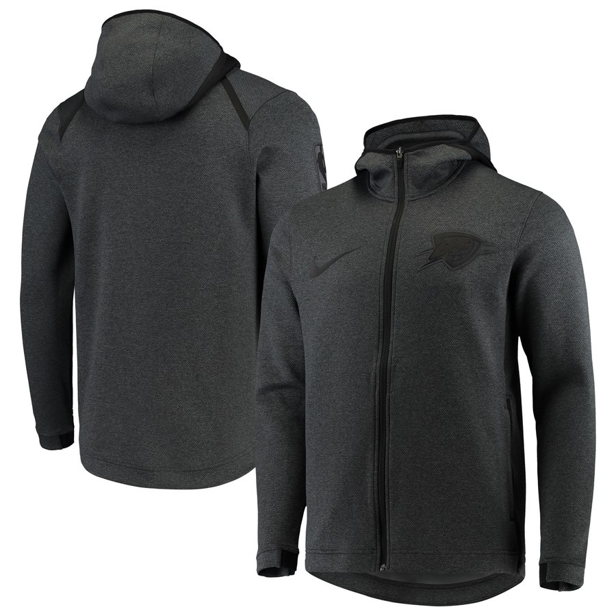 Oklahoma City Thunder Nike Showtime Tonal Therma Flex Performance Full Zip Hoodie Black