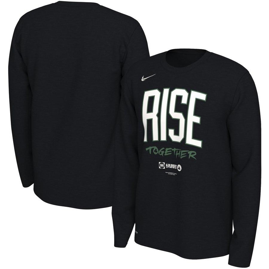 Boston Celtics Nike 2019 NBA Playoffs Bound Team Mantra Dri FIT Long Sleeve T-Shirt Black