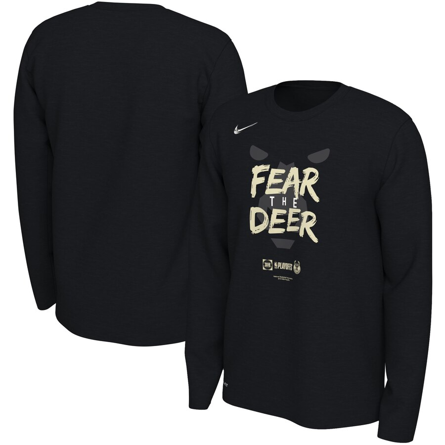 Milwaukee Bucks Nike 2019 NBA Playoffs Bound Team Mantra Dri FIT Long Sleeve T-Shirt Black