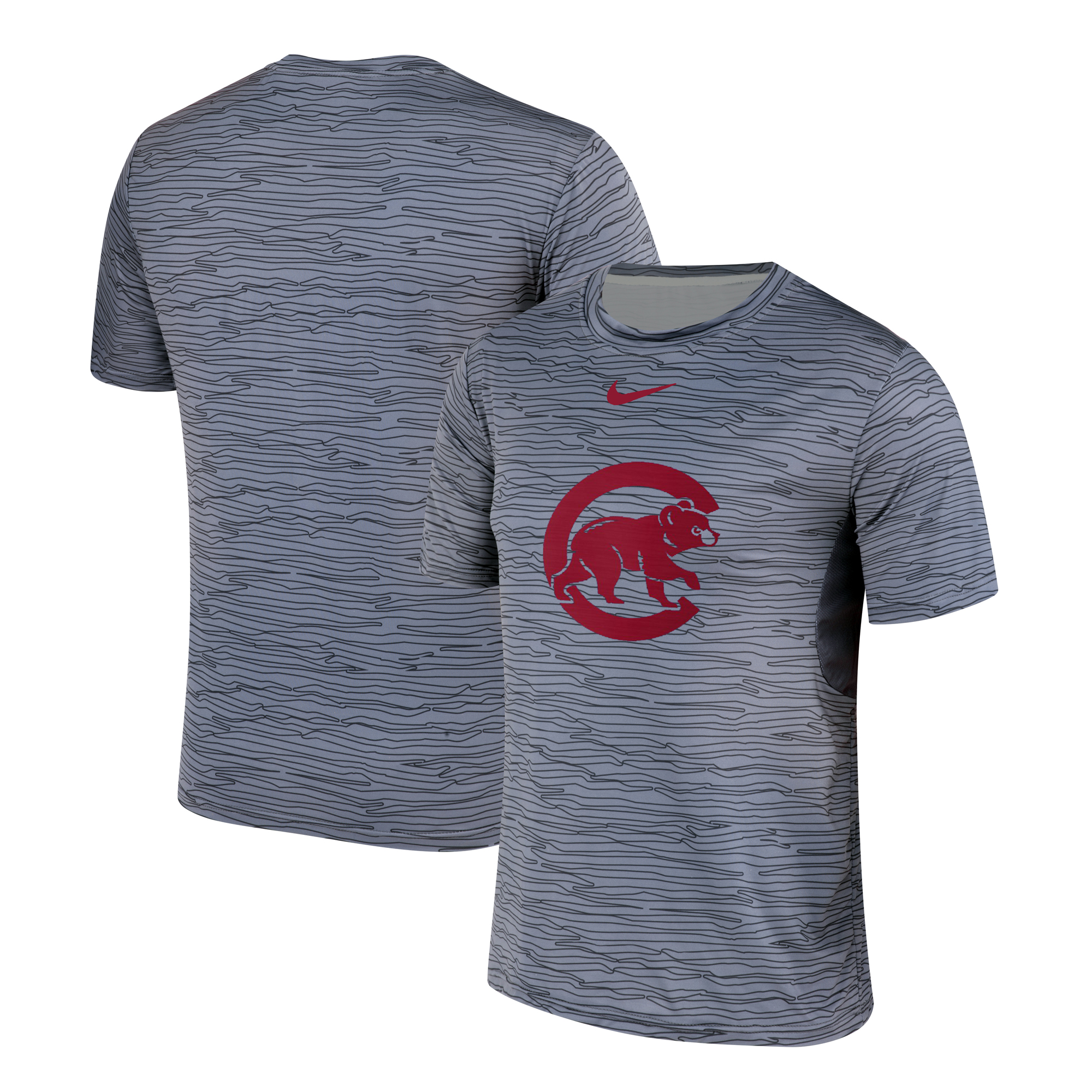 Nike Chicago Cubs Gray Black Striped Logo Performance T-Shirt
