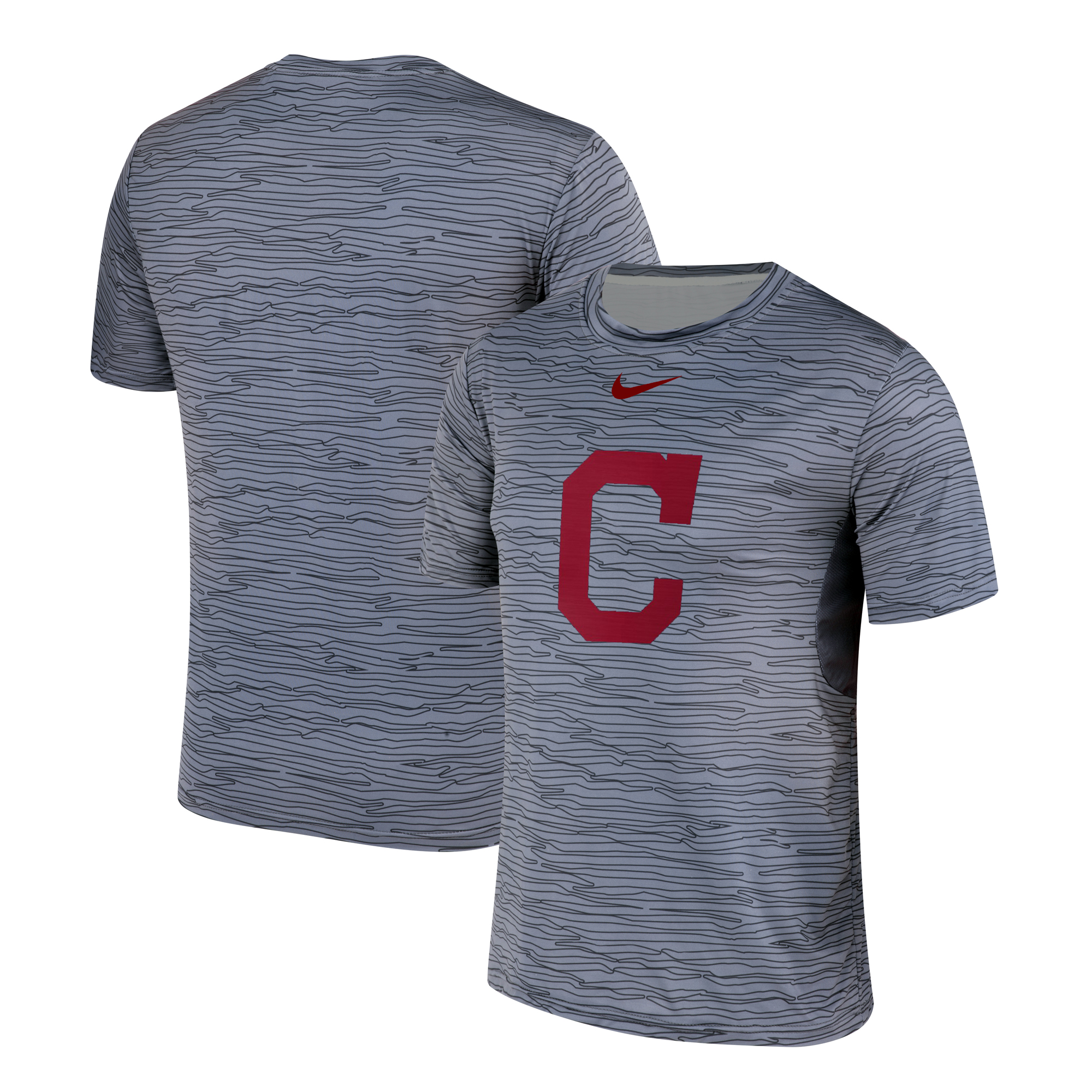 Nike Cleveland Indians Gray Black Striped Logo Performance T-Shirt