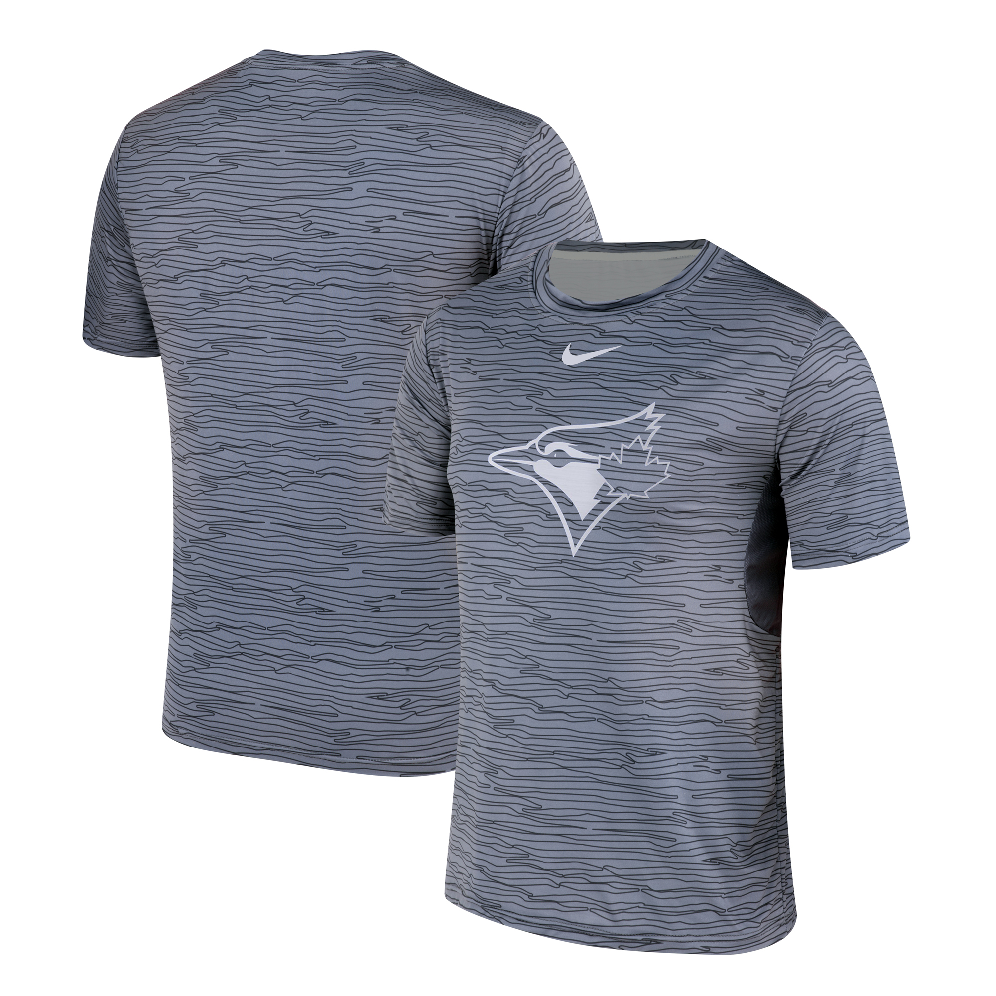 Nike Toronto Blue Jays Gray Black Striped Logo Performance T-Shirt