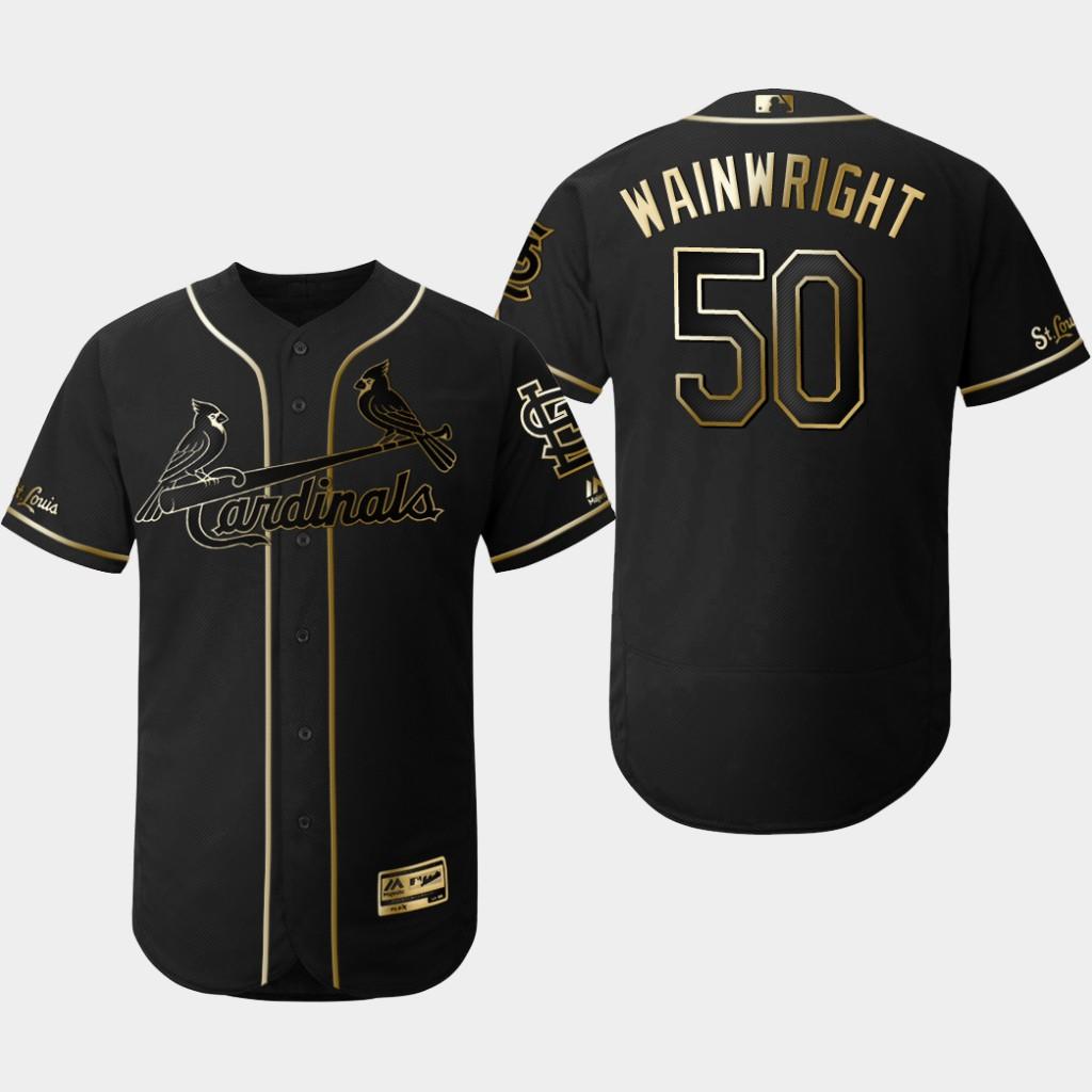 Cardinals 50 Adam Wainwright Black Gold Flexbase Jersey