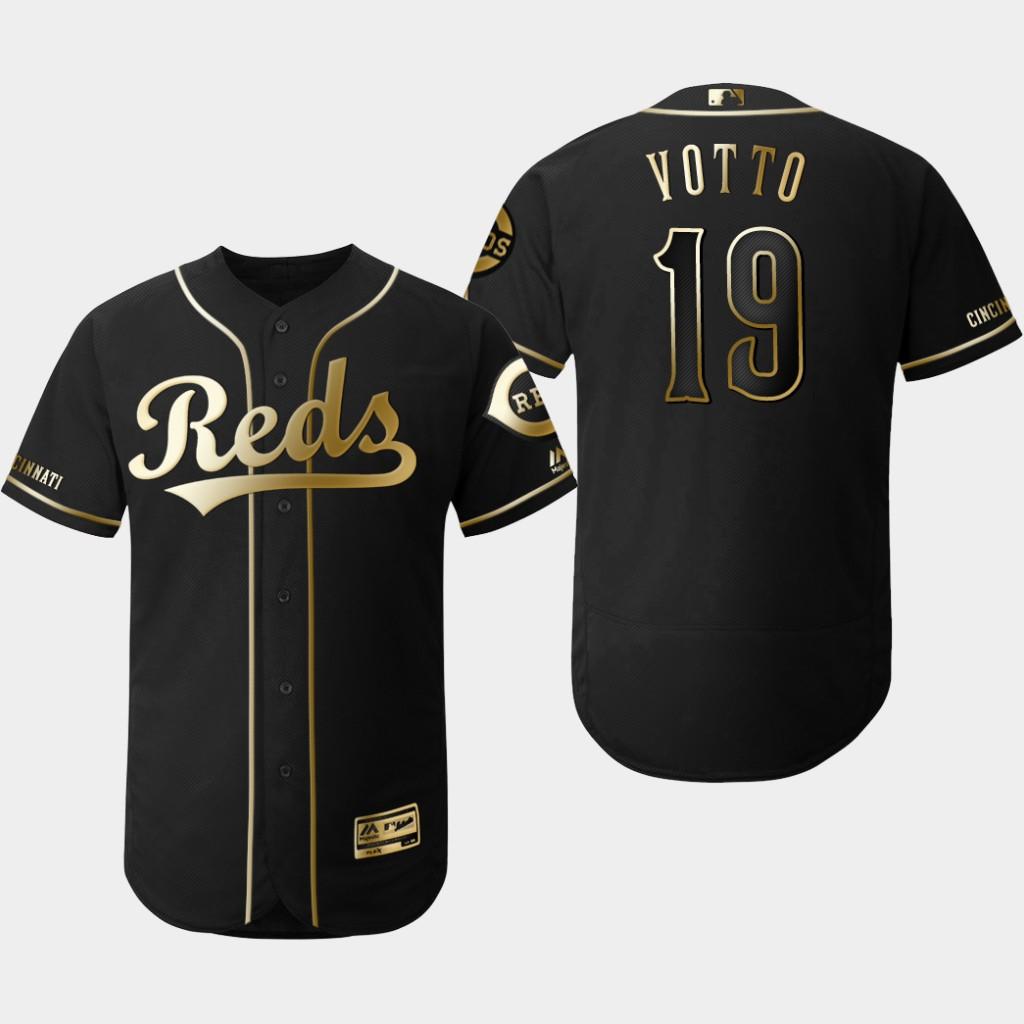 Reds 19 Joey Votto Black Gold Flexbase Jersey