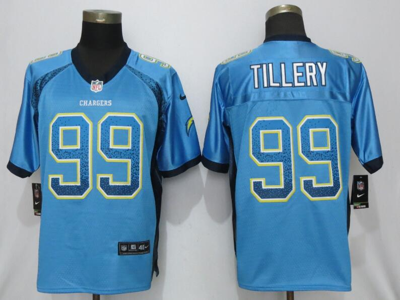 Nike Chargers 99 Jerry Tillery Blue Drift Fashion Elite Jersey