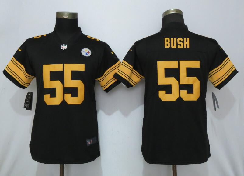 Nike Steelers 55 Devin Bush Black Women 2019 NFL Draft First Round Pick Color Rush Limited Jersey