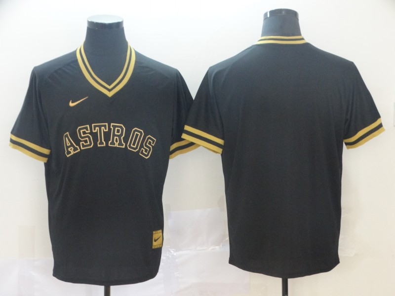 Astros Blank Black Gold Nike Cooperstown Collection Legend V Neck Jersey