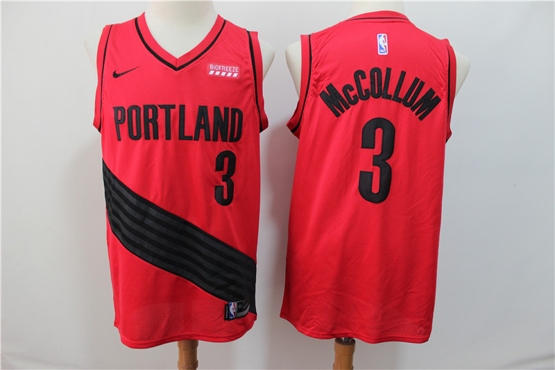 Blazers 3 C.J. McCollum Red City Edition Nike Swingman Jersey