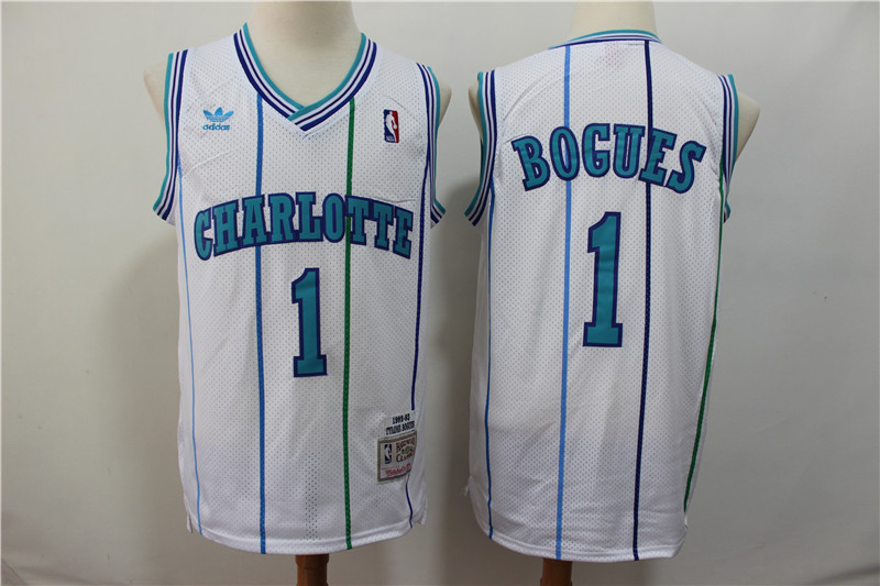 Hornets 1 Muggsy Bogues White 1992-93 Hardwood Classics Jersey