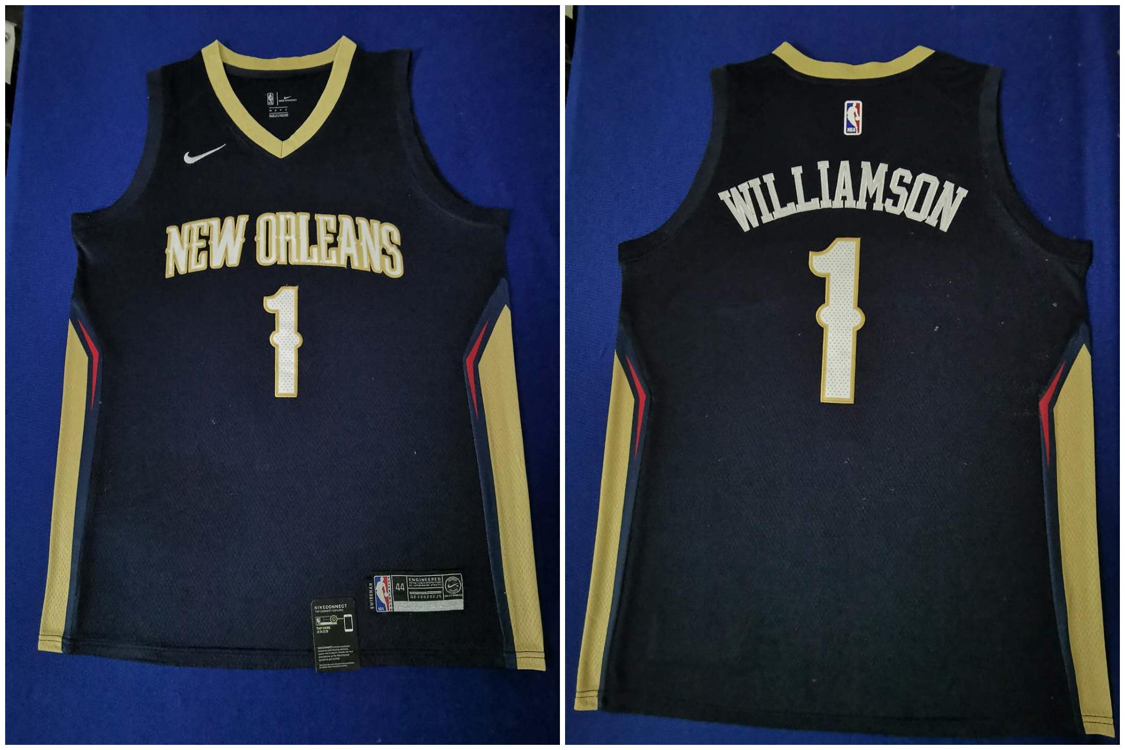 Pelicans 1 Zion Williamson Navy Nike Swingman Jersey