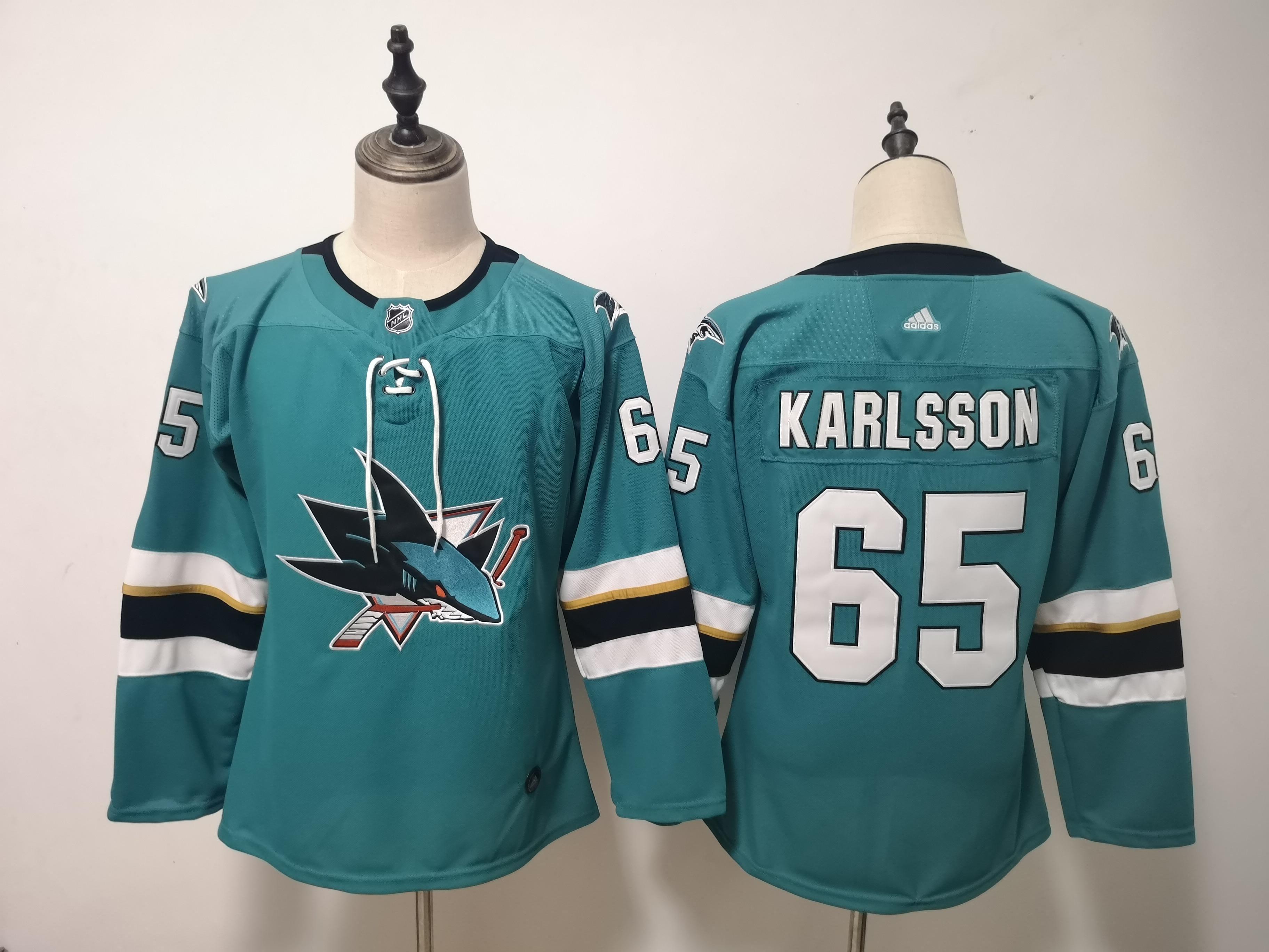 Sharks 65 Erik Karlsson Teal Youth Adidas Jersey