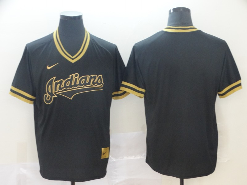 Indians Blank Black Gold Nike Cooperstown Collection Legend V Neck Jersey