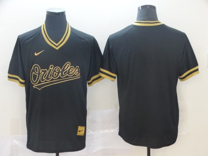 Orioles Blank Black Gold Nike Cooperstown Collection Legend V Neck Jersey