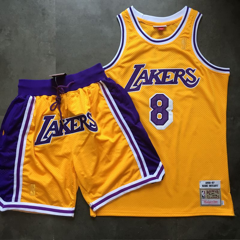 Lakers 8 Kobe Bryant Yellow 1996-97 Hardwood Classics Jersey(With Shorts)
