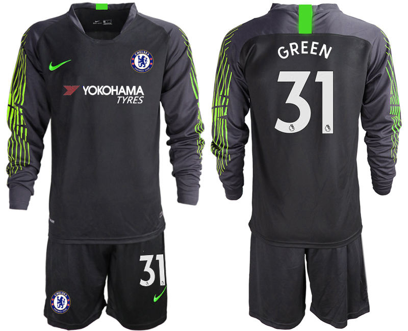 2018-19 Chelsea 31 GREEN Black Long Sleeve Goalkeeper Soccer Jersey